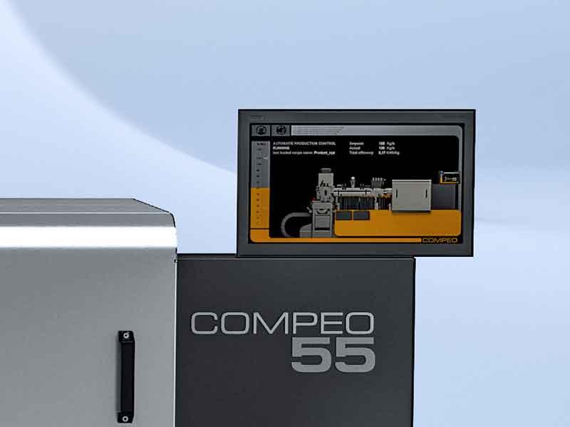 Das mit einem Touchscreen ausgestattete COMPEO Systemsteuerung basiert auf einer modernen Steuerung und macht das Compoundiersystem vollständig Industry 4.0-konform.