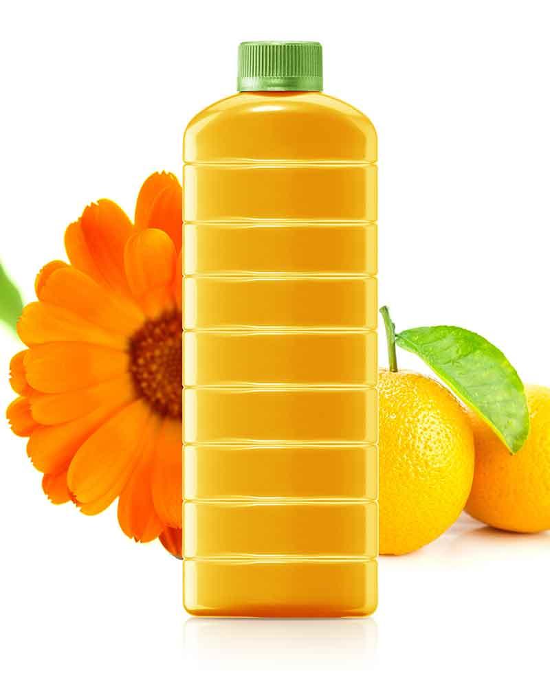 Бутылка из биопластика с апельсиновым соком / система компаундирования