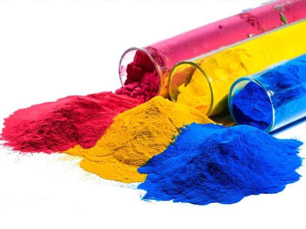 Красный, желтый и голубой порошок для порошкового покрытия