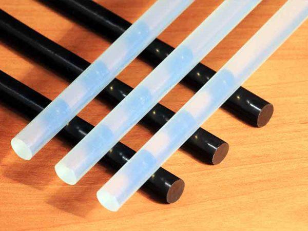 Black and white hot glue bars.