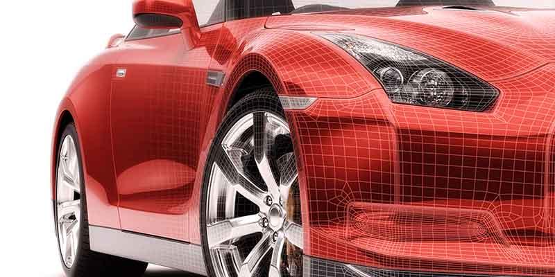 Coche rojo de plástico reforzado con fibras que muestra la relevancia de los compuestos FRTP para la industria del automóvil
